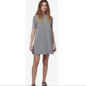 Topshop mockneck trapeze gray swing dress